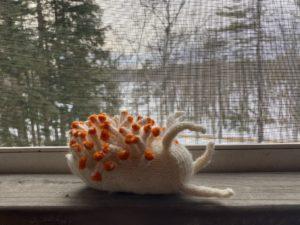 a small crochet nudibranch